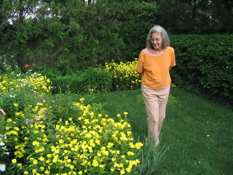 image of Bernice Vincent in her garden in spring