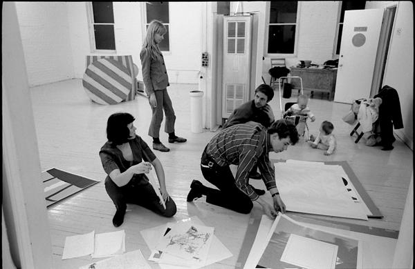 L to R Bernice Vincent, Sheila Curnoe (standing), unknown artist kneeling w. striped shirt, Greg Curnoe (rear), Owen Curnoe in stroller, Charles Vincent sitting on floor. Collection Don Vincent