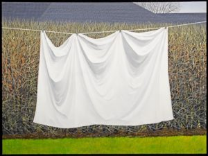 image of the painting The White Sheet by Bernice Vincent. a large white sheet hangs suspended on a line that spans the frame. behind is a tall hedge that fills the frame. it is spring and the hedge had only the beginnings of buds and the grass underneath is just growing in.