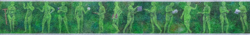 """image of the painting """"14 Women"""" by Bernice Vincent, a mixed media painting on a textured background of gessoed roadside grasses. the painting shows 14 female figures like a filmstrip. the women are each holding a different engineering tool. the painting is mostly in greens so the women almost look like they're emerging from the earth."""