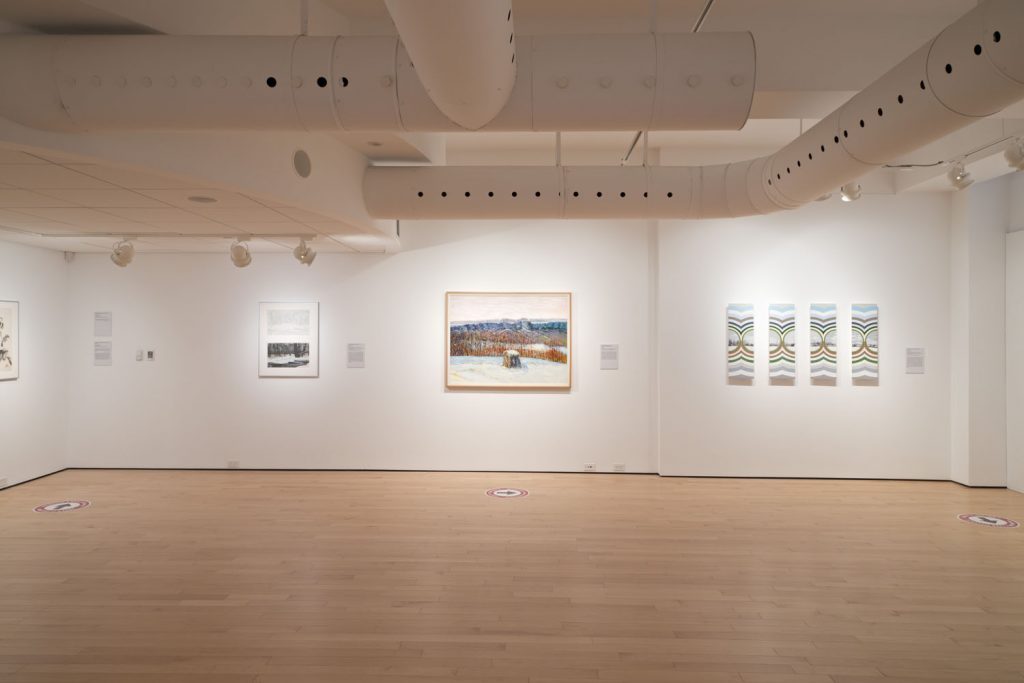 image of gallery exhibition showing several works including winter seen by bernice vincent