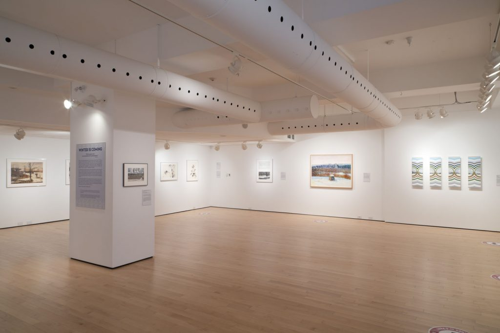 image of exhibition at the Woodstock Art Gallery including the work Winter Seen by Bernice Vincent