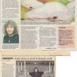 """Scan of an article titled """"Making art from the ordinary"""" from the London Free Press, September 22, 1994 by Joe Matyas. Bernice Vincent has applied her formidable talent to the everyday items in her home, garden and city."""